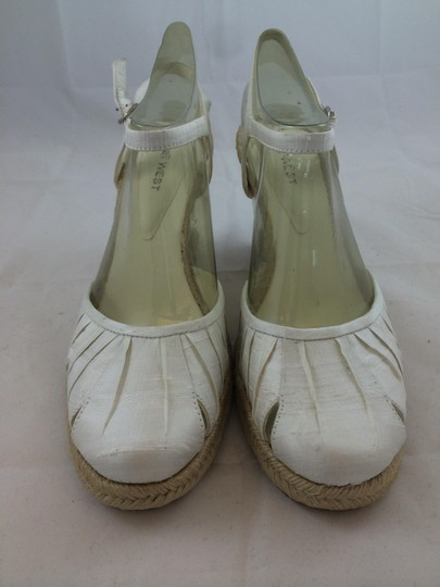 Nine West White and Cream Wedges