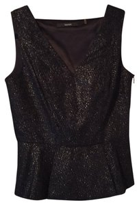 Tahari Metallic Side Peplum V-neck Top Black and silver