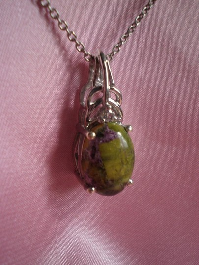 Other Tasmanian Stichtite, White Topaz Sterling Silver Stainless Steel Chain