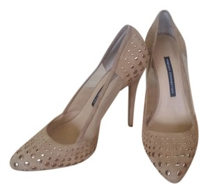 French Connection Studded Mesh Gold Nude Pumps