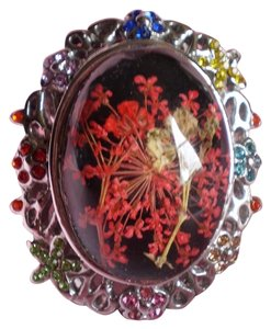 Pressed Flowers in Enamel, Multi Color Austrian Crystals in Stainless Steel (Size 7)