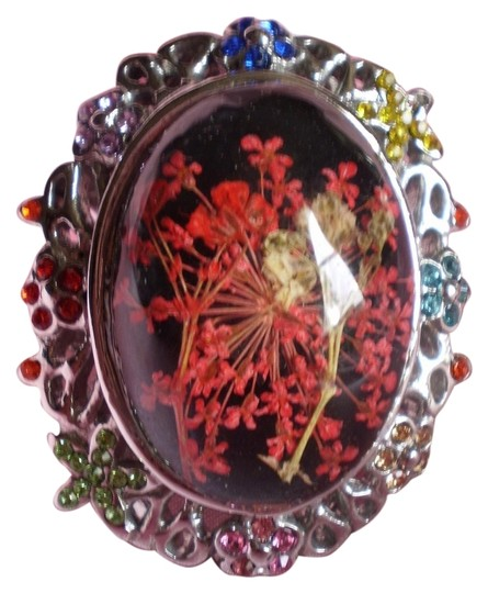 Other Pressed Flowers in Enamel, Multi Color Austrian Crystals