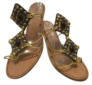 Miu Miu Thong All Leather Italian Grommets & Jewels E36.5 Gold & brown Sandals