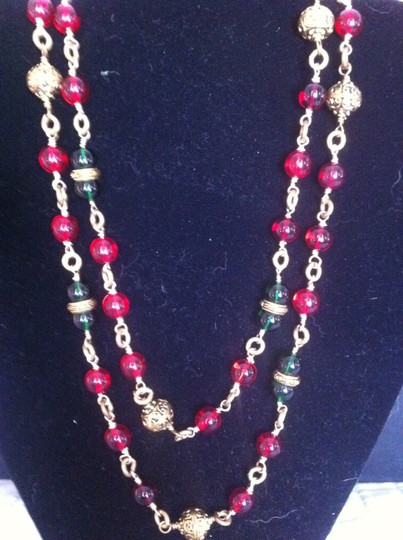 Chanel CHANEL Gold and Red/Green Gripoix bead Sautoir