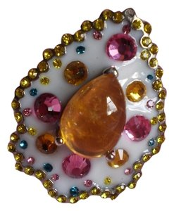 Other Brazilian Citrine, Champagne, Light Green, Pink, Yellow and Blue Austrian Crystals in Stainless Steel (Size 7)