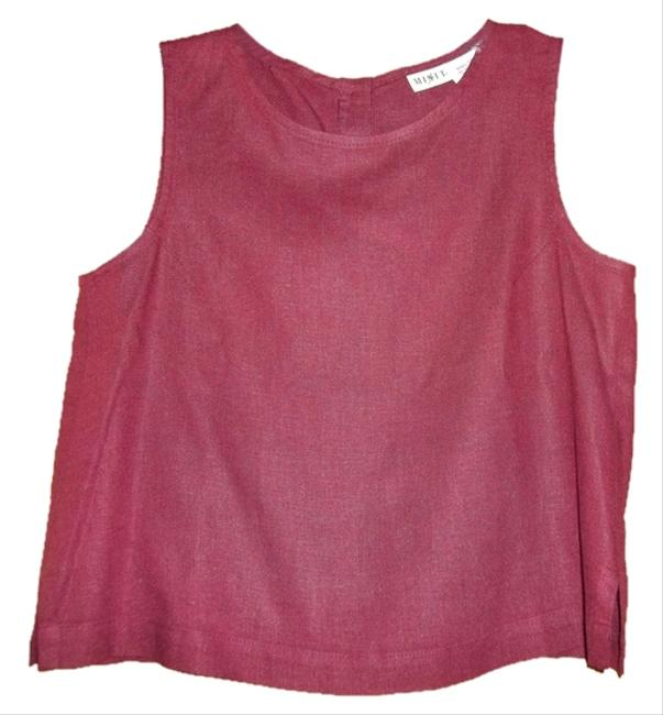 Mixit Linen And Rayon Top Burgundy