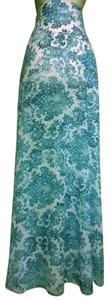 Lisa Nieves Chiffon Casual Evening Flowy Maxi Skirt turquoise and white