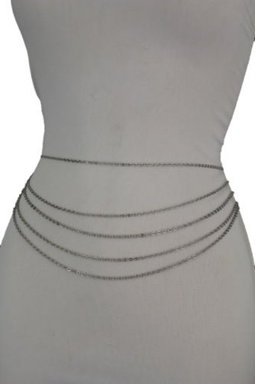 Alwaystyle4you Women Silver Belt Metal Chains Hip High Waist Strands Waves Side Image 4