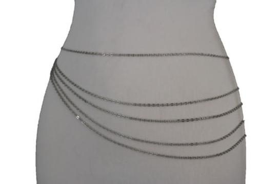 Alwaystyle4you Women Silver Belt Metal Chains Hip High Waist Strands Waves Side Image 5