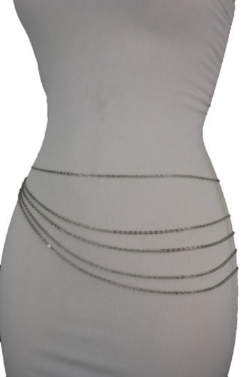 Alwaystyle4you Women Silver Belt Metal Chains Hip High Waist Strands Waves Side Image 7
