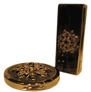 Other Silver Sunburst Lipstick Holder & Mirror Compact - [ Roxanne Anjou Closet ]