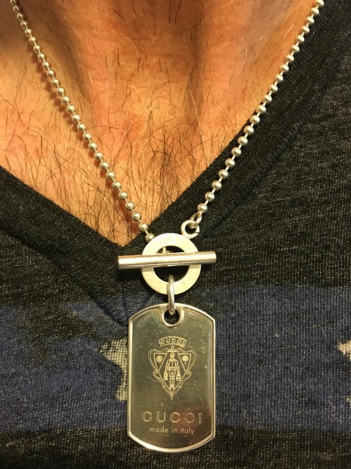 ca6a3945c Gucci Men's Authentic GUCCI Sterling Silver Dog Tag Necklace Image 0 ...