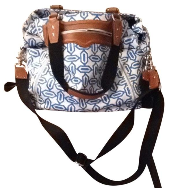 Item - Harper Coated Blue and White Canvas Diaper Bag