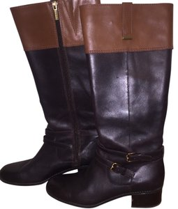 2747e23bba4 Bandolino Black with Brown Women's Carlotta Riding In Leather Boots/Booties  Size US 8.5 Regular (M, B) 74% off retail