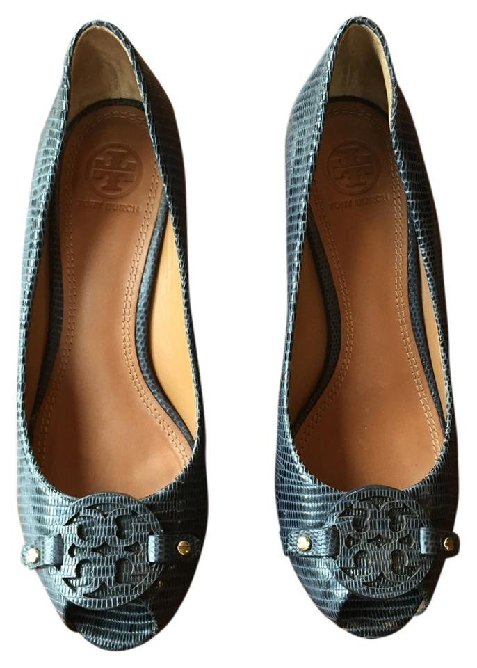 d1faabf2afef Tory Burch Navy Mini Miller Open Toe 65mm Wedges Size US 7.5 Regular ...