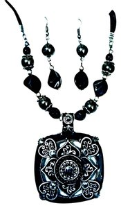 East 5th Essentials Gift Set Hematite Black Medallion Necklace & Dangle Earring Set