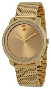 Movado Gold Plated Mesh Bracelet Designer Ladies Dress Watch