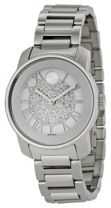 Movado Crystal Pave Silver tone Stainless Steel Designer Ladies Dress Watch