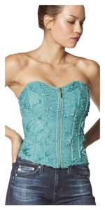 Other Corset Strapless Ruffle Bralette Bustier Top Mint Green
