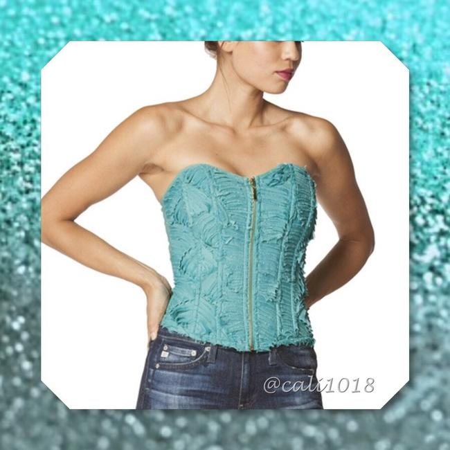 Other Corset Strapless Ruffle Bralette Bustier Top Mint Green Image 1