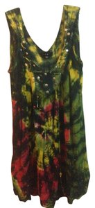 Ninety short dress Green Yellow Pink Tiedye Tie Dye on Tradesy