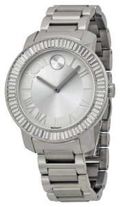 Movado Crystal Set Bezel Silver tone Stainless Steel Designer Ladies Dress Watch