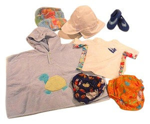 BABY BOY Swim-CLOTHES + ACCESSORIES Sz 6-12 Mos., 6-pc bundle