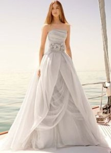 Vera Wang Vw351178 - Sterling (gray) Organza Gown With Draped Bodice And Tulle Skirt Wedding Dress