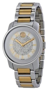 Movado Crystal Pave Dial Two Tone Silver Gold Stainless Steel Designer Ladies Dress Watch