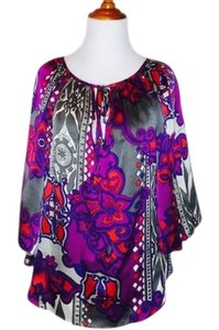 Alice & Trixie Vibrant Silk Top Magenta, Purple, White, Red, Grey