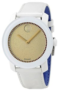 Movado White Leather Strap Crystal Pave Gold tone Dia Designer Sport Casual Ladies Watch