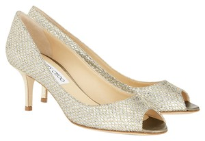 Jimmy Choo Isabel Peep Toe Champagne Glitter Pumps