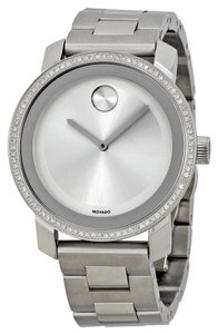 Movado 90 Diamonds Bezel Pave Silver tone Stainless Steel Designer Ladies Dress Watch