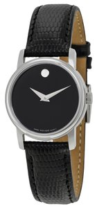 Movado Black Dial Black Leather Strap Classic Designer Dress ladies watch