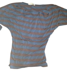 Necessary Objects Top Brown & Blue Stripe