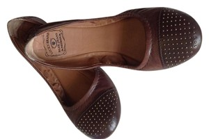Lucky Brand Leather Studded Brown Flats