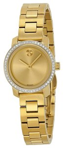 Movado Diamonds Pave Bezel Gold tone Stainless Steel Designer Ladies Dress Watch