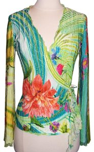 Cache Wrap Floral Crinkle Pleated Top Multi Color