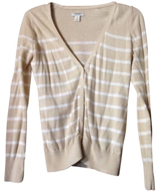 Preload https://img-static.tradesy.com/item/14364439/old-navy-white-and-tan-striped-cardigan-size-2-xs-0-1-650-650.jpg