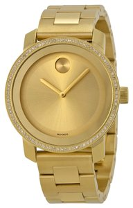 Movado 90 Diamonds Gold tone Stainless Steel Designer Ladies Dress Watch