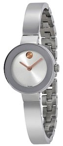 Movado Silver tone Stainless Steel Rose Gold Accent Bangle Designer Dress Watch