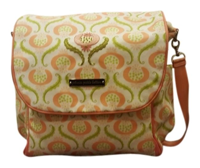 Item - Backpack Boxy Peach and White Vinyl Diaper Bag