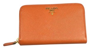 Prada Prada Saffiano Zip Wallet in Papaya Orange