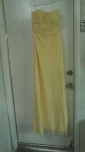David's Bridal Canary/Yellow Chiffon A Line Strapless Dress With Pleated Bust Style F13287 Dress