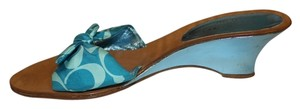 Coach Mini Scarf Print Spring Turquoise Wedges