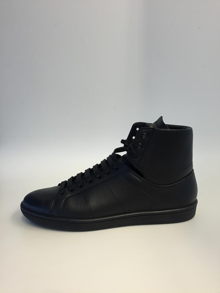 13066b95 Saint Laurent Black Signature Sl/01h Court Classic High Top Sneakers In  Leather Sneakers Size US 7 Regular (M, B) 59% off retail