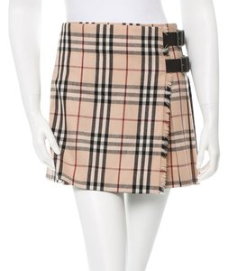 Burberry Nova Check Plaid Leather Wrap Skirt Beige, Black