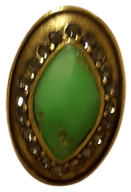 Item - Brass Green and Marcasite Statement Ring