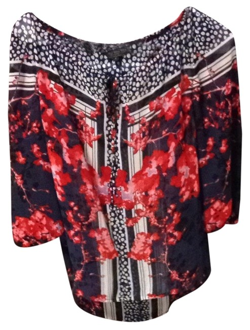 Guess Daytime Casual Flouncy Guesstop Floral Top Red/white/blue