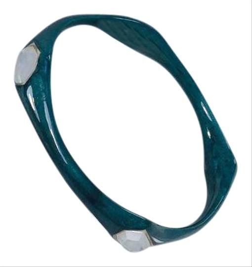 Ippolita Ippolita Teal Resin Silver 5 Stone Mother Pearl Bangle Bracelet